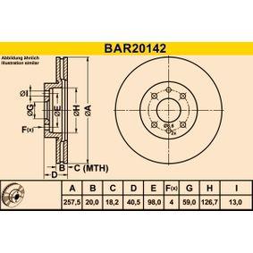 Bremsscheibe Bremsscheibendicke: 20,0mm, Lochanzahl: 4, Ø: 257,5mm mit OEM-Nummer 51 749 124