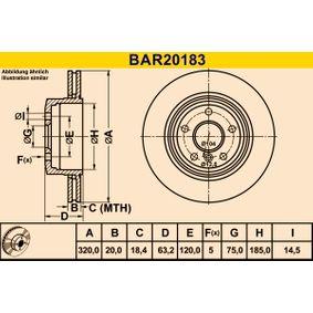 Barum  BAR20183 Bremsscheibe Bremsscheibendicke: 20,0mm, Lochanzahl: 5, Ø: 320,0mm