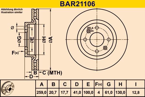 Barum  BAR21106 Bremsscheibe Bremsscheibendicke: 20,7mm, Lochanzahl: 4, Ø: 259,0mm