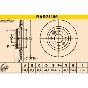 Bremsscheibe Bremsscheibendicke: 20,7mm, Lochanzahl: 4, Ø: 259,0mm mit OEM-Nummer 86 71 005 976
