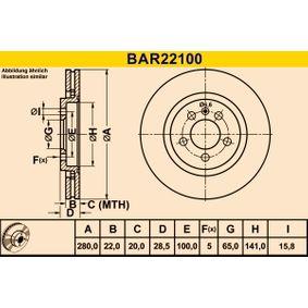 Barum  BAR22100 Bremsscheibe Bremsscheibendicke: 22,0mm, Lochanzahl: 5, Ø: 280,0mm