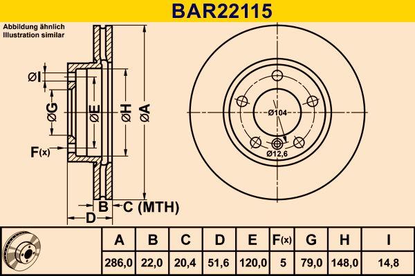 Barum  BAR22115 Bremsscheibe Bremsscheibendicke: 22,0mm, Lochanzahl: 5, Ø: 286,0mm
