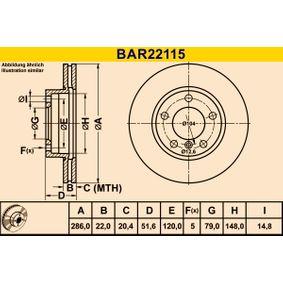 Disque de frein BAR22115 Z4 Roadster (E85) 2.5 i ac 2003