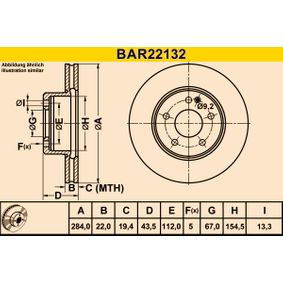 Barum  BAR22132 Bremsscheibe Bremsscheibendicke: 22,0mm, Lochanzahl: 5, Ø: 284,0mm