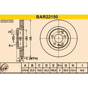Barum  BAR22150 Bremsscheibe Bremsscheibendicke: 22,0mm, Lochanzahl: 5, Ø: 279,9mm