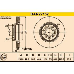 Barum  BAR22152 Bremsscheibe Bremsscheibendicke: 22,0mm, Lochanzahl: 5, Ø: 280,0mm