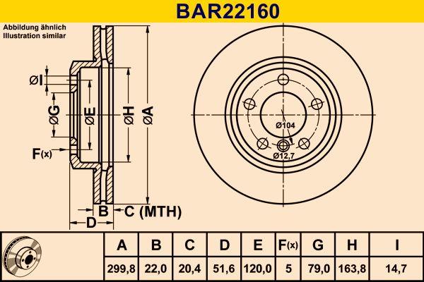 Barum  BAR22160 Bremsscheibe Bremsscheibendicke: 22,0mm, Lochanzahl: 5, Ø: 299,8mm