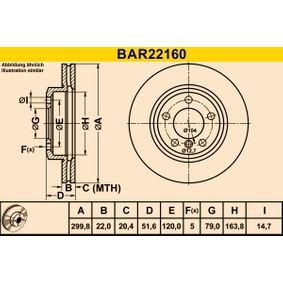 Bremsscheibe Bremsscheibendicke: 22,0mm, Lochanzahl: 5, Ø: 299,8mm mit OEM-Nummer 34116766224
