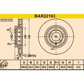 Bremsscheibe Bremsscheibendicke: 22,0mm, Lochanzahl: 5, Ø: 256,0mm mit OEM-Nummer 8L0 615 601