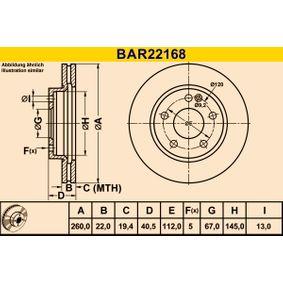Barum  BAR22168 Bremsscheibe Bremsscheibendicke: 22,0mm, Lochanzahl: 5, Ø: 260,0mm