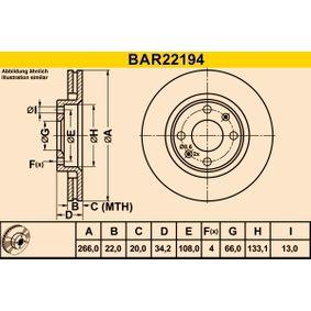 Bremsscheibe Bremsscheibendicke: 22,0mm, Lochanzahl: 4, Ø: 266,0mm mit OEM-Nummer 4246W7