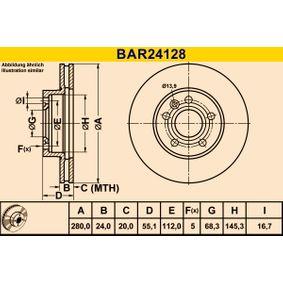 Bremsscheibe Bremsscheibendicke: 24,0mm, Lochanzahl: 5, Ø: 280,0mm mit OEM-Nummer 7D0 615 301A