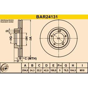 Bremsscheibe Bremsscheibendicke: 24,3mm, Lochanzahl: 5, Ø: 254,0mm mit OEM-Nummer 5029 815