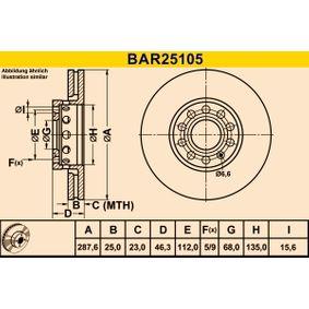 Bremsscheibe Bremsscheibendicke: 24,8mm, Lochanzahl: 5, Ø: 287,6mm mit OEM-Nummer 4A0.615.301E