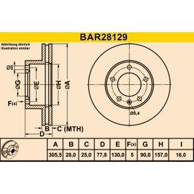 Bremsscheibe Bremsscheibendicke: 28,0mm, Lochanzahl: 5, Ø: 305,5mm mit OEM-Nummer 91 11 038