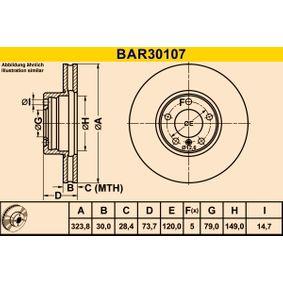 Bremsscheibe Bremsscheibendicke: 30,0mm, Lochanzahl: 5, Ø: 323,8mm mit OEM-Nummer 34 111 165 859