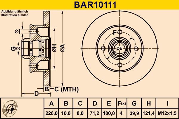 Barum  BAR10111 Bremsscheibe Bremsscheibendicke: 10,0mm, Lochanzahl: 4, Ø: 226,0mm