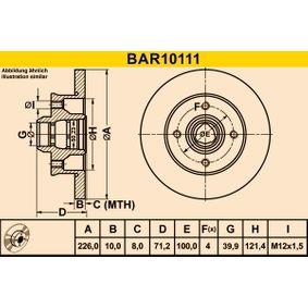 Bremsscheibe Bremsscheibendicke: 10,0mm, Lochanzahl: 4, Ø: 226,0mm mit OEM-Nummer 6N0 615 601