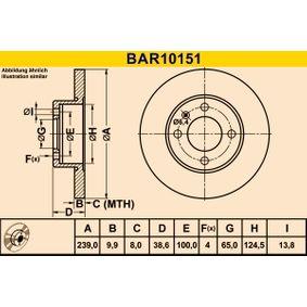 Barum  BAR10151 Bremsscheibe Bremsscheibendicke: 9,9mm, Lochanzahl: 4, Ø: 239,0mm
