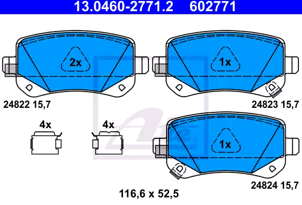 Bremsbeläge 13.0460-2771.2 ATE 24824 in Original Qualität
