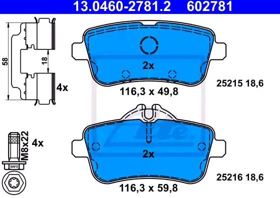 Bremsbeläge 13.0460-2781.2 ATE 25216 in Original Qualität