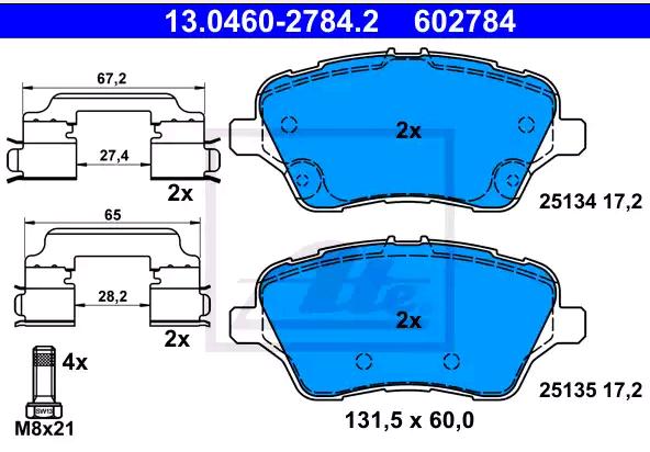 Bremsklötze ATE 13.0460-2784.2 4006633421799