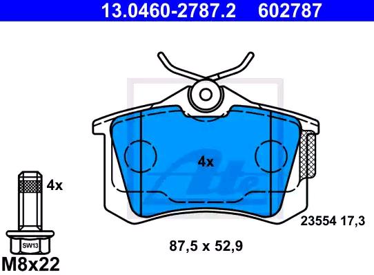 Bremsbeläge 13.0460-2787.2 ATE 23554 in Original Qualität