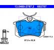 Bremssteine SKODA Rapid Spaceback (NH1) 2018 Baujahr 13.0460-2787.2 exkl. Verschleißwarnkontakt, nicht für Verschleißwarnanzeiger vorbereitet, mit Bremssattelschrauben