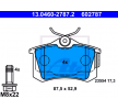 ATE Bremsklötze DE TOMASO exkl. Verschleißwarnkontakt, nicht für Verschleißwarnanzeiger vorbereitet, mit Bremssattelschrauben