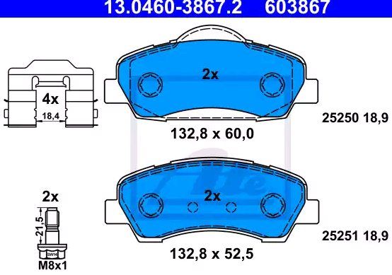 Bremsbeläge 13.0460-3867.2 ATE 25251 in Original Qualität