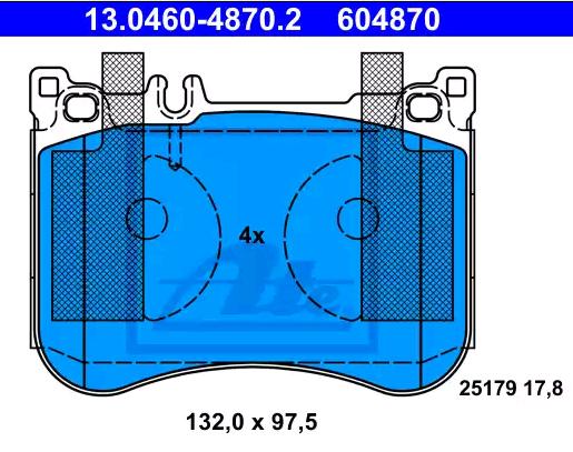 Bremsbeläge 13.0460-4870.2 ATE 25179 in Original Qualität