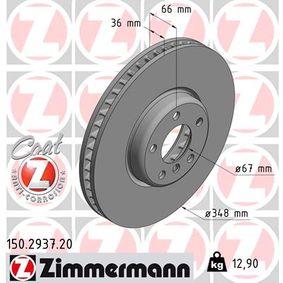 Bremsscheibe Bremsscheibendicke: 36mm, Lochanzahl: 5, Ø: 348mm mit OEM-Nummer 34 11 6 860 912