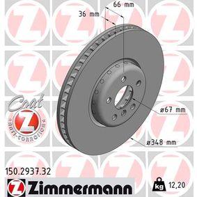 Bremsscheibe Bremsscheibendicke: 36mm, Lochanzahl: 5, Ø: 348mm mit OEM-Nummer 3411 6860 912
