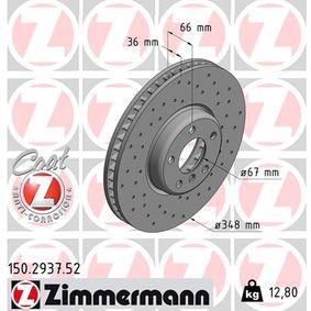 Bremsscheibe Bremsscheibendicke: 36mm, Lochanzahl: 5, Ø: 348mm mit OEM-Nummer 3411 6 860 912