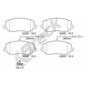 Bremsbelagsatz, Scheibenbremse Höhe: 59,60mm, Dicke/Stärke: 19,00mm mit OEM-Nummer 77362236