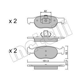 Brake Pad Set, disc brake 22-0079-1 PUNTO (188) 1.2 16V 80 MY 2000