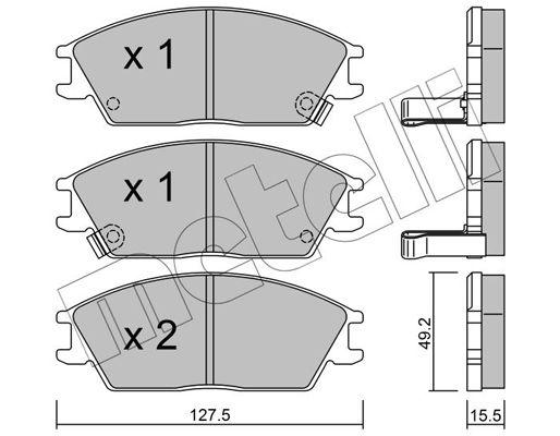 METELLI  22-0081-1 Bremsbelagsatz, Scheibenbremse Dicke/Stärke 1: 15,5mm