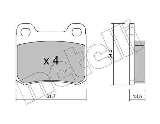 METELLI  22-0092-0 Bremsbelagsatz, Scheibenbremse Dicke/Stärke 1: 13,5mm