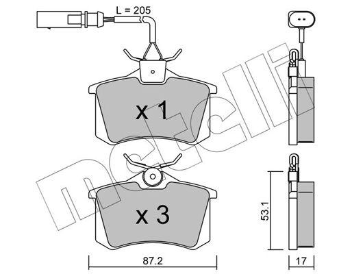 METELLI  22-0100-3 Bremsbelagsatz, Scheibenbremse Dicke/Stärke 1: 17,0mm