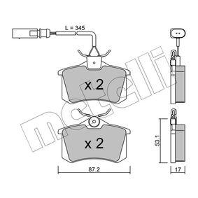 Bremsbelagsatz, Scheibenbremse Dicke/Stärke 1: 17,0mm mit OEM-Nummer 8D0 698 451 B
