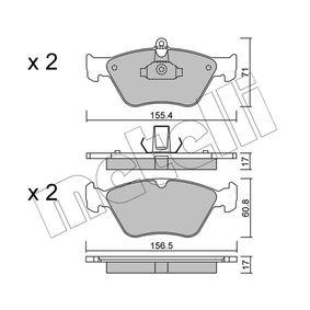 Bremsbelagsatz, Scheibenbremse Breite 2: 156,5mm, Höhe 2: 60,8mm, Dicke/Stärke 2: 17,0mm mit OEM-Nummer 90443873