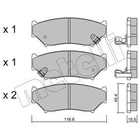 Juego de pastillas de freno 22-0136-0 VITARA Cabrio (ET, TA) 1.6 i 16V (TA02, SE416) ac 1993