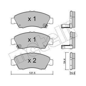 Комплект спирачно феродо, дискови спирачки 22-0138-0 Jazz 2 (GD_, GE3, GE2) 1.2 i-DSI (GD5, GE2) Г.П. 2007