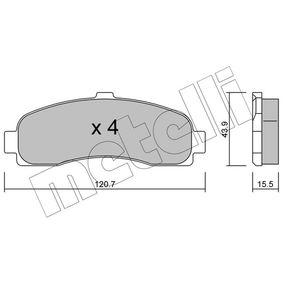 Σετ τακάκια, δισκόφρενα 22-0145-0 MICRA 2 (K11) 1.3 i 16V Έτος 2000