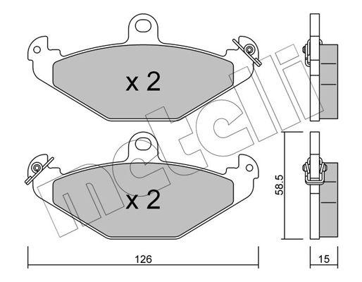 METELLI  22-0165-0 Bremsbelagsatz, Scheibenbremse Dicke/Stärke 1: 15,0mm