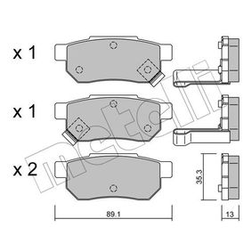Комплект спирачно феродо, дискови спирачки ширина: 89,1мм, височина: 35,3мм, дебелина: 13,0мм с ОЕМ-номер GBP90316AF
