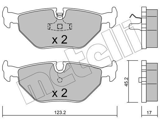 METELLI  22-0180-0 Bremsbelagsatz, Scheibenbremse Dicke/Stärke 1: 17,0mm