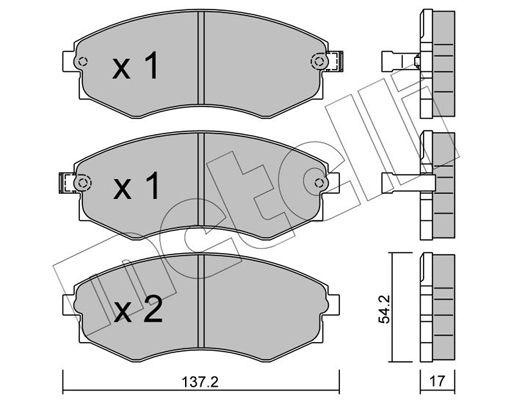 METELLI  22-0188-0 Bremsbelagsatz, Scheibenbremse Dicke/Stärke 1: 17,0mm