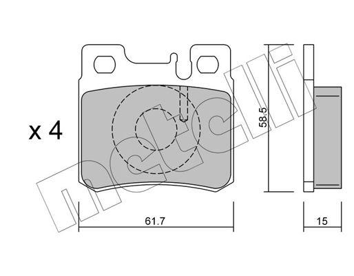 METELLI  22-0203-0 Bremsbelagsatz, Scheibenbremse Dicke/Stärke 1: 15,0mm