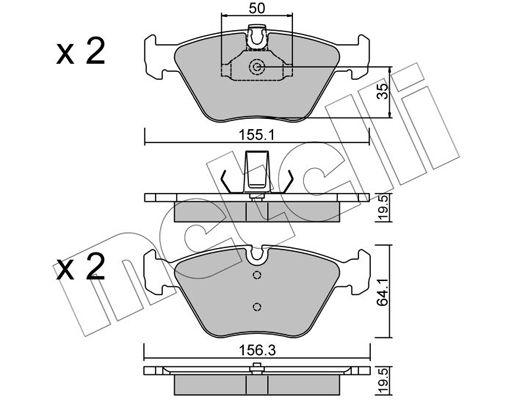 METELLI  22-0207-0 Bremsbelagsatz, Scheibenbremse Breite 2: 156,3mm, Höhe 2: 64,1mm, Dicke/Stärke 1: 19,5mm